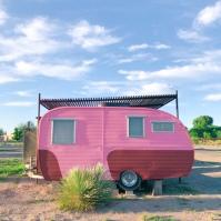 cutest pink trailer @ el cosmico